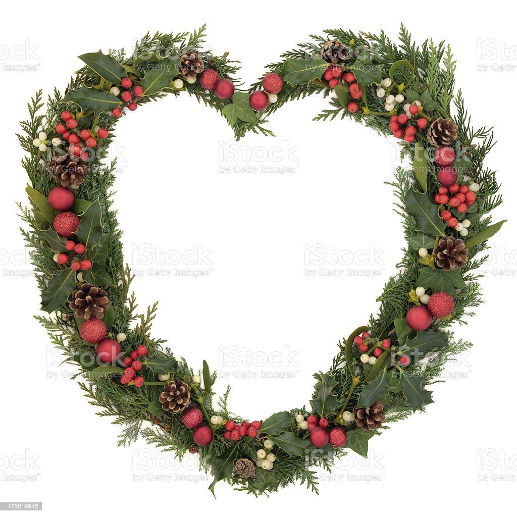 Heart Shaped Christmas Wreath royalty-free stock photo