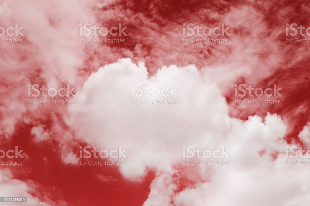 Heart shaped clouds in the sky, Valentine Background Red color themes...