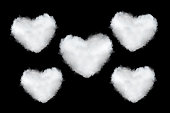 heart shaped clouds isolated on black background
