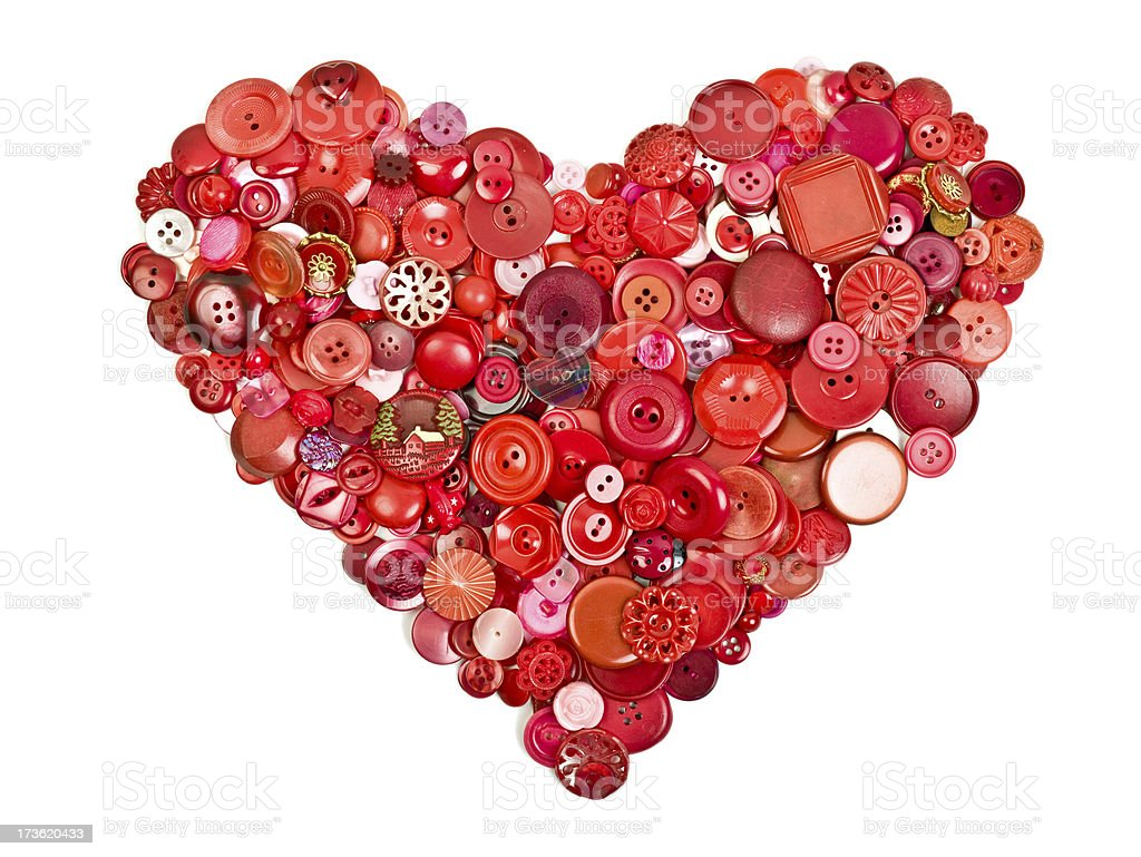 Heart Shaped Collection Of Buttons Stock Photo - Download