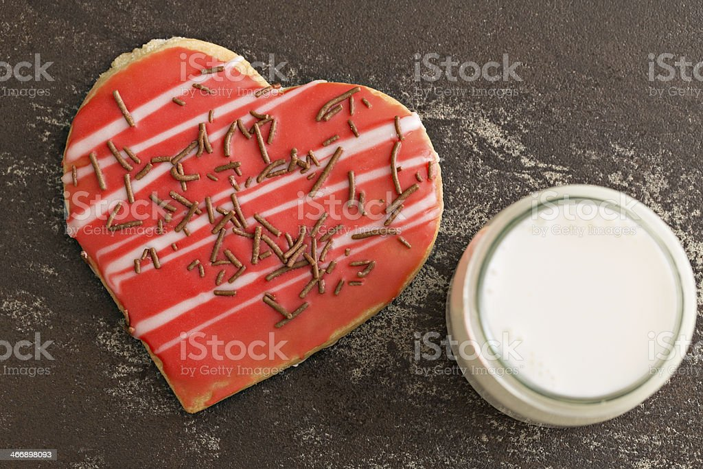 Heart Shaped Cookie And Milk royalty-free stock photo