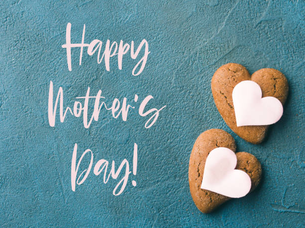 Heart shaped cookies for mothers day. Text stock photo