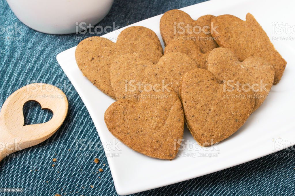 Heart shaped cookies on blue background royalty-free stock photo