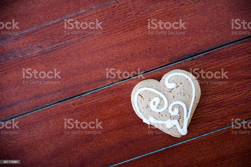 Heart shaped cookies on wooden background. royalty-free stock photo