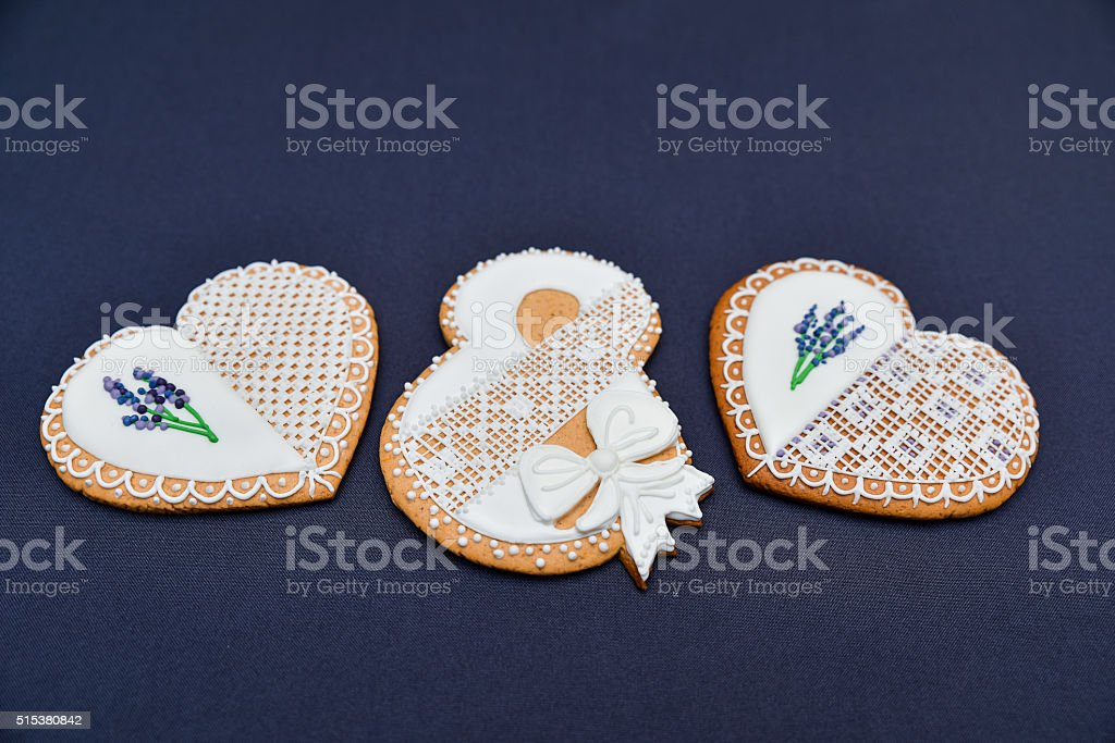 Heart shaped cookies with royal icing openwork with lavender. stock photo