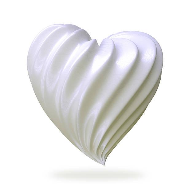heart shaped cream, isolated stock photo