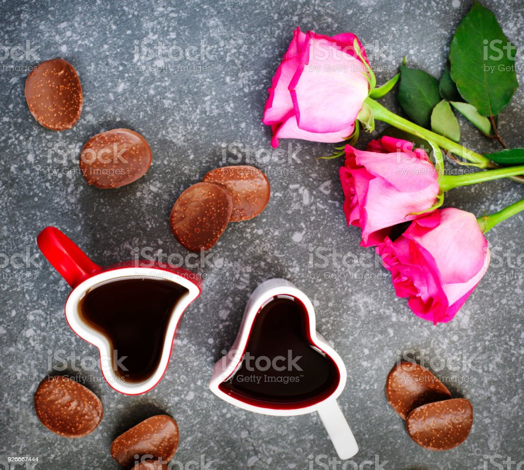 Heart Shaped Cup Of Tea And Chocolate Candy Valentines Day Concept