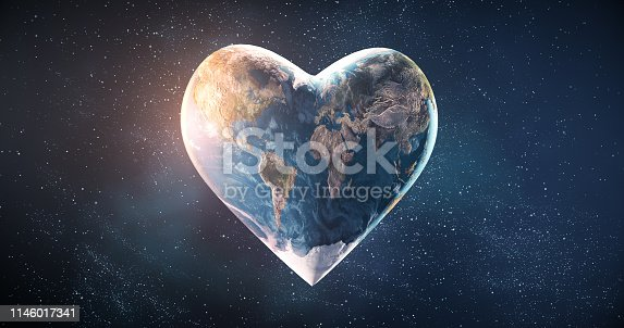 Beautiful rendering of a heart shaped earth, perfectly usable for a wide range of topics related to environmental conservation, sustainable resources or peace in general.