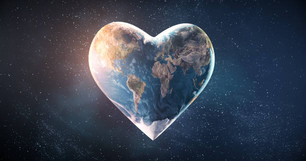 Heart Shaped Earth Beautiful rendering of a heart shaped earth, perfectly usable for a wide range of topics related to environmental conservation, sustainable resources or peace in general. hope concept stock pictures, royalty-free photos & images