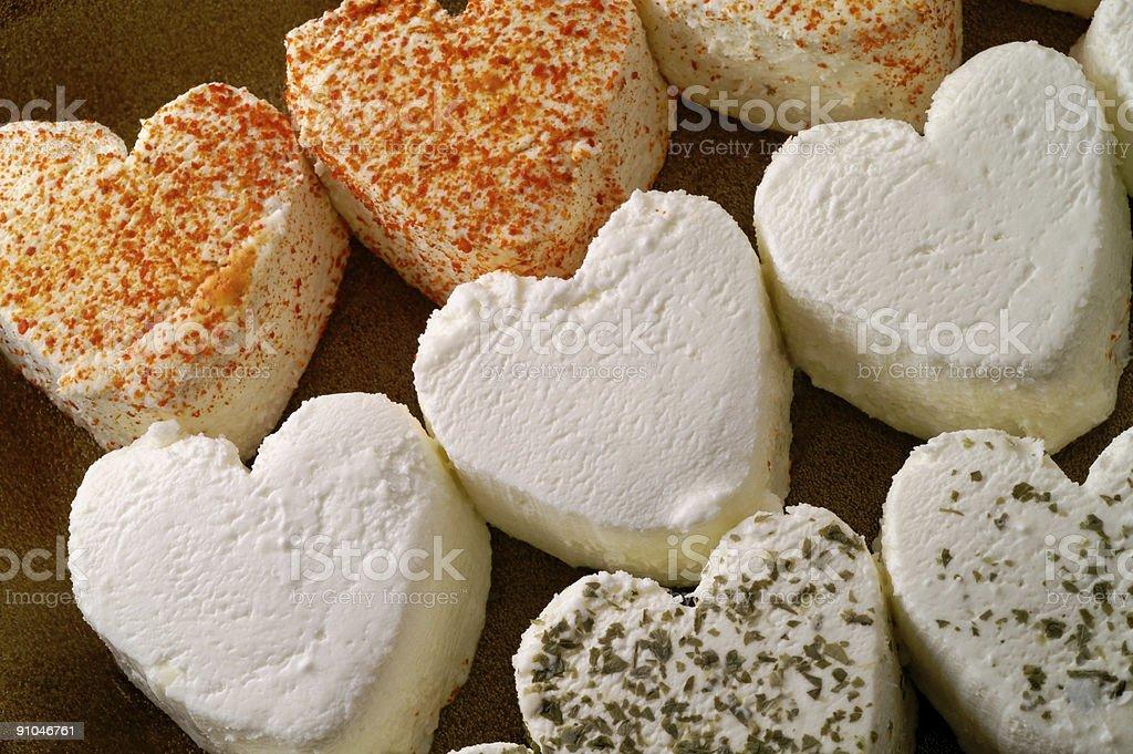 Heart shaped fresh cheese closeup royalty-free stock photo