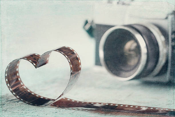 Heart shaped from film negative stock photo