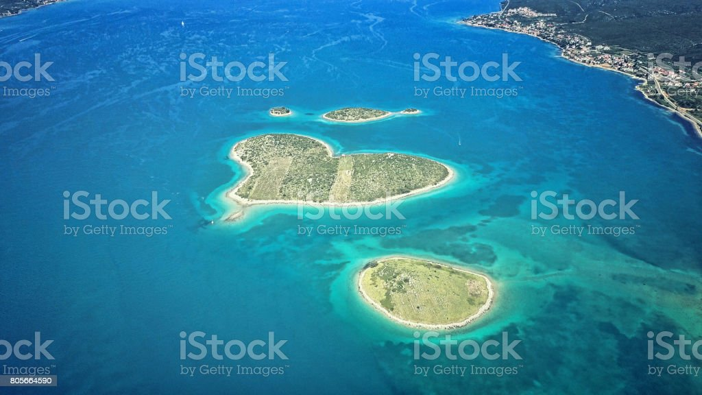 heart shaped Galesnjak island on the adriatic stock photo