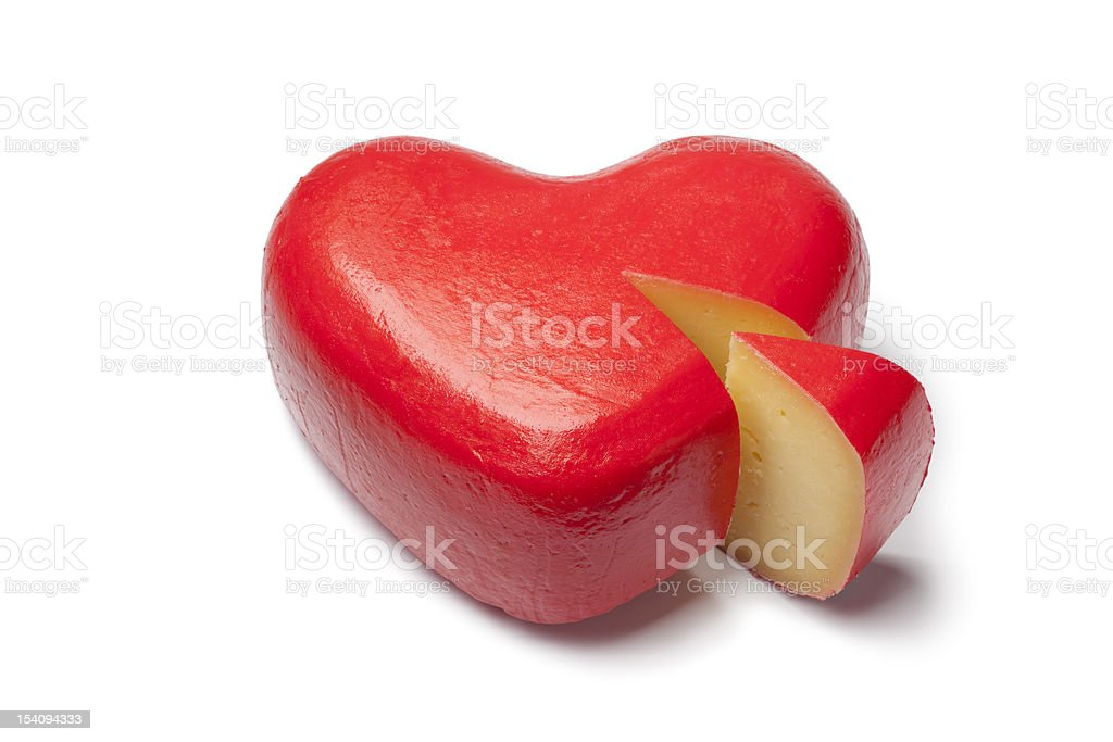Heart shaped Gouda cheese royalty-free stock photo