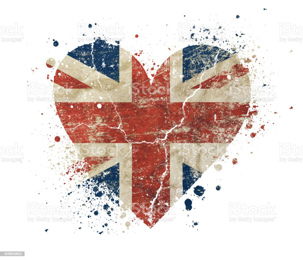 Heart shaped grunge vintage UK Great Britain flag stock photo