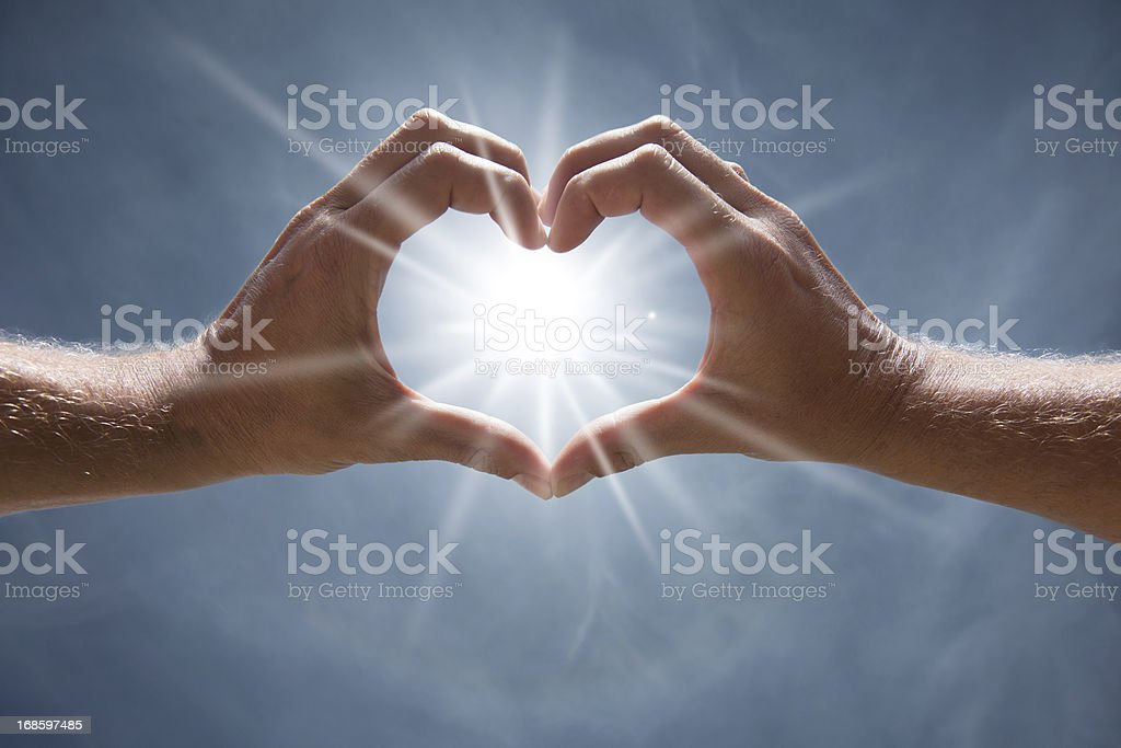 Heart Shaped Hands in the Sky royalty-free stock photo