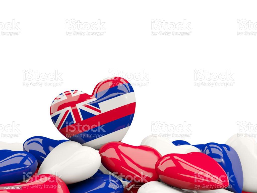 Bandeira do estado de Havaí em forma de coração. Bandeiras de locais dos Estados Unidos - foto de acervo