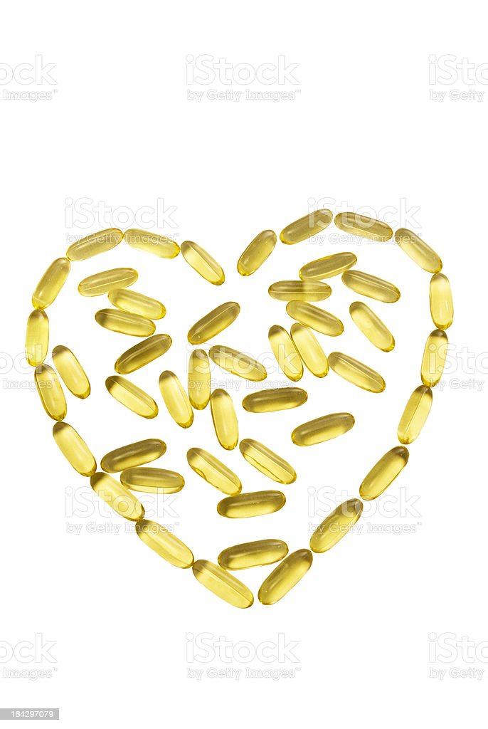 Heart Shaped Healthy Fish Oil Capsule royalty-free stock photo