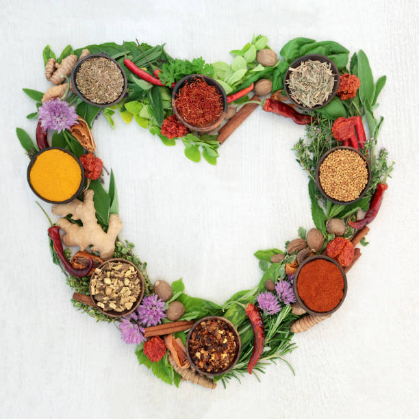 Heart Shaped Herb and Spice Wreath stock photo