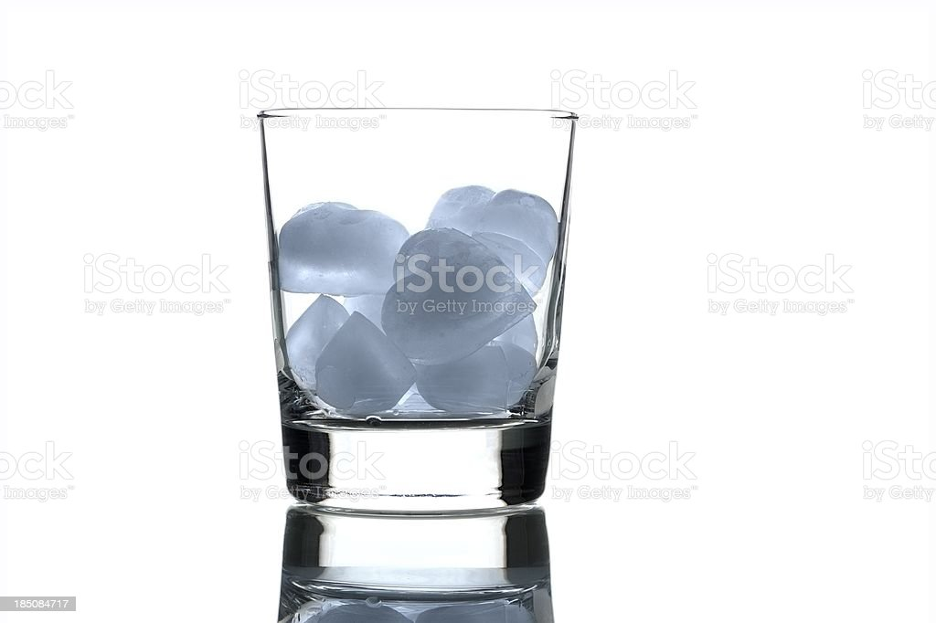 Heart Shaped Ice Cubes in a Drinking Glass royalty-free stock photo