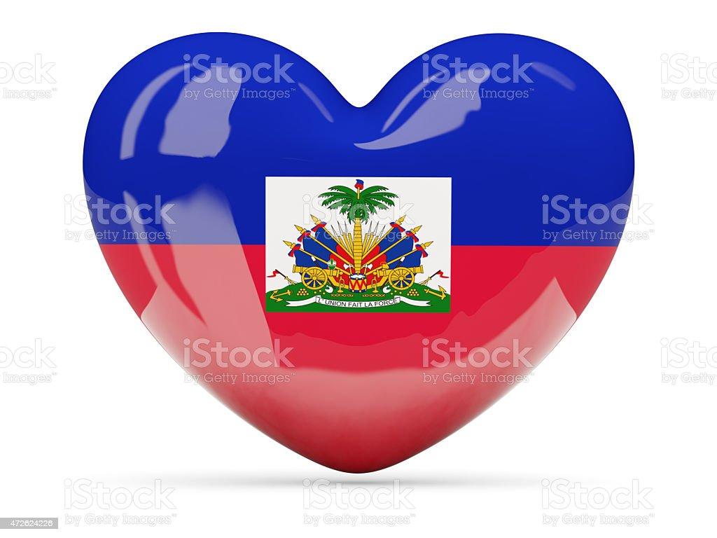 Heart shaped icon with flag of haiti stock photo