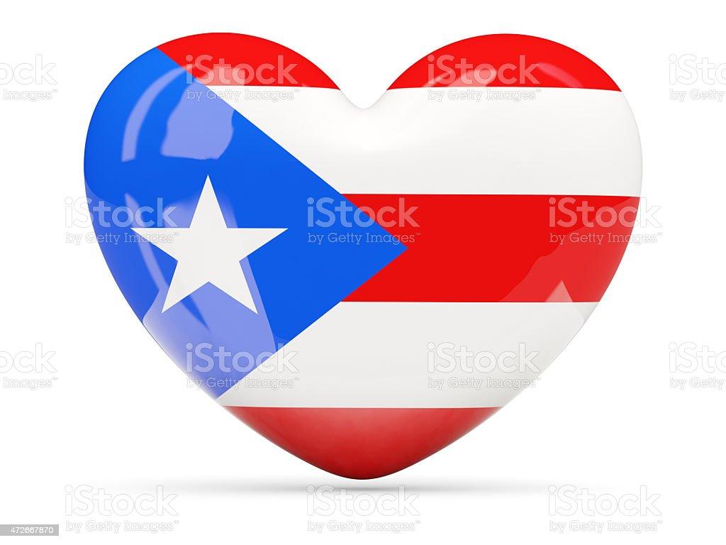 Icono con forma de corazón con bandera de puerto rico - foto de stock