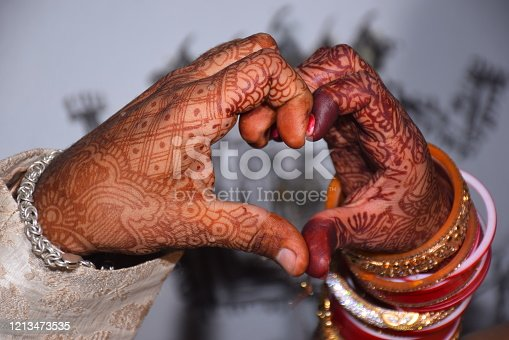 Heart shaped, Indian matrimonial tradition made by the hands of a newly married couple.