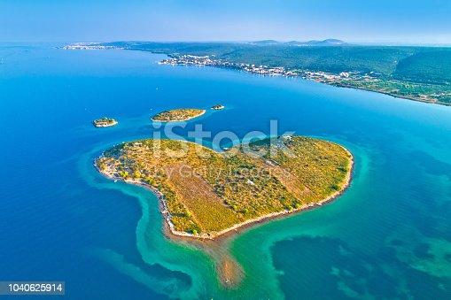 istock Heart shaped island of Galesnjak in Zadar archipelago aerial view, Dalmatia region of Croatia 1040625914
