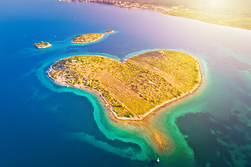 istock Heart shaped island of Galesnjak in Zadar archipelago aerial view, Dalmatia region of Croatia 1089101540