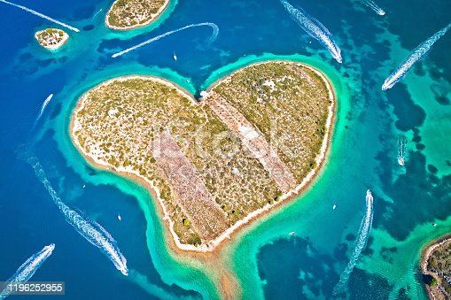 istock Heart shaped island of Galesnjak in Zadar archipelago aerial view 1196252955