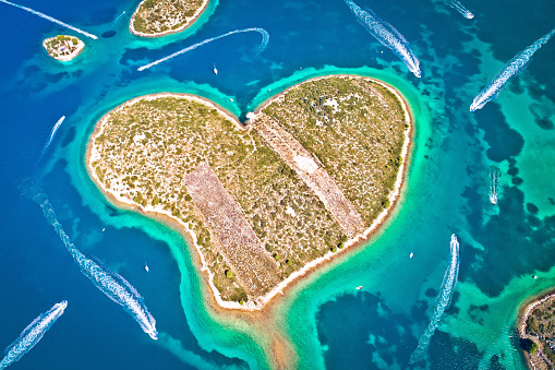 istock Heart shaped island of Galesnjak in Zadar archipelago aerial view 1196252955