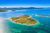 Heart shaped island of Galesnjak near Zadar in Dalmatia on Croatian Adriatic sea, aerial view from drone