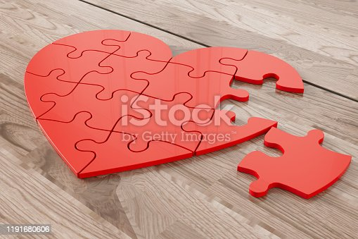 Heart Shaped Jigsaw Puzzle. 3d Render