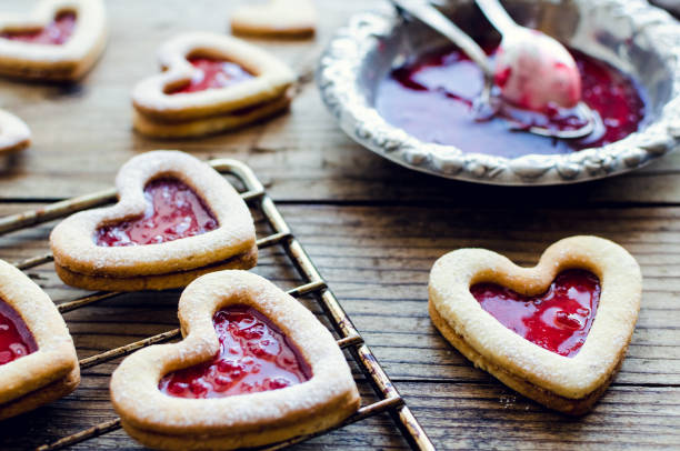Heart shaped Linzer cookies stock photo