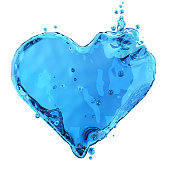 Heart shaped liquid splash isolated on white background