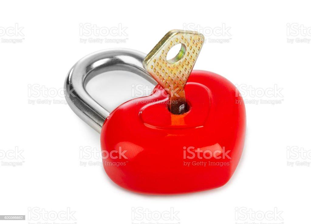 Zamek i klucz w kształcie serca zbiór zdjęć royalty-free