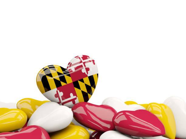 Heart shaped maryland state flag. United states local flags Heart shaped maryland state flag. United states local flags. 3D illustration maryland us state stock pictures, royalty-free photos & images