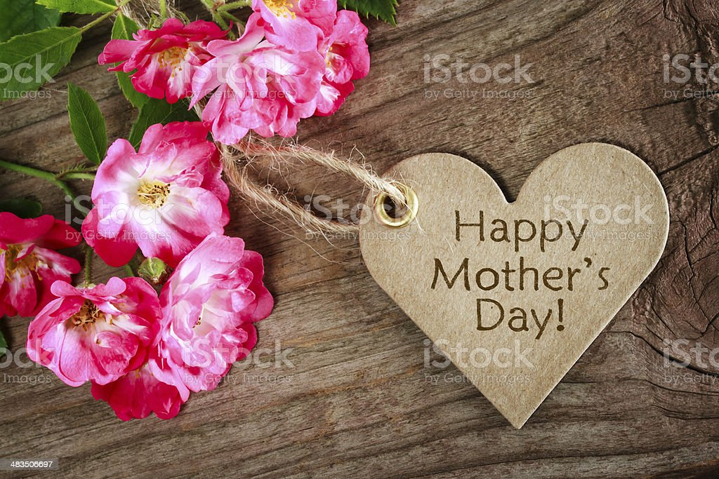 Heart shaped mothers day card stock photo