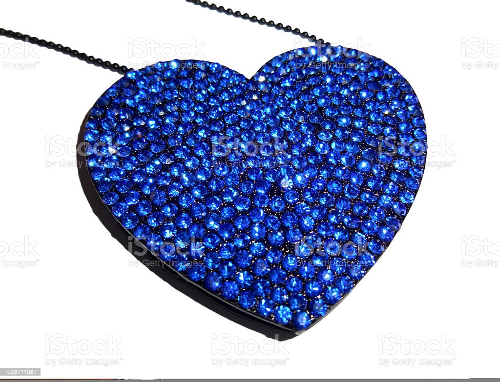 Heart shaped necklace isolated on white stock photo