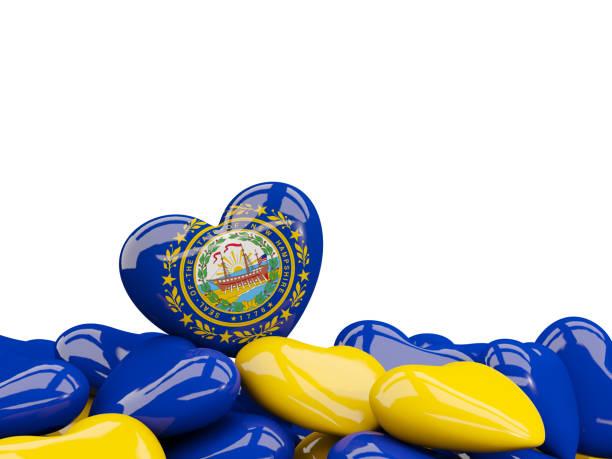 Bandeira do estado de new hampshire em forma de coração. Bandeiras de locais dos Estados Unidos - foto de acervo