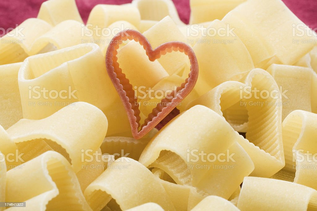 Heart shaped noodles royalty-free stock photo