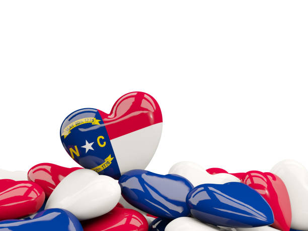 Heart shaped north carolina state flag. United states local flags Heart shaped north carolina state flag. United states local flags. 3D illustration north carolina us state stock pictures, royalty-free photos & images