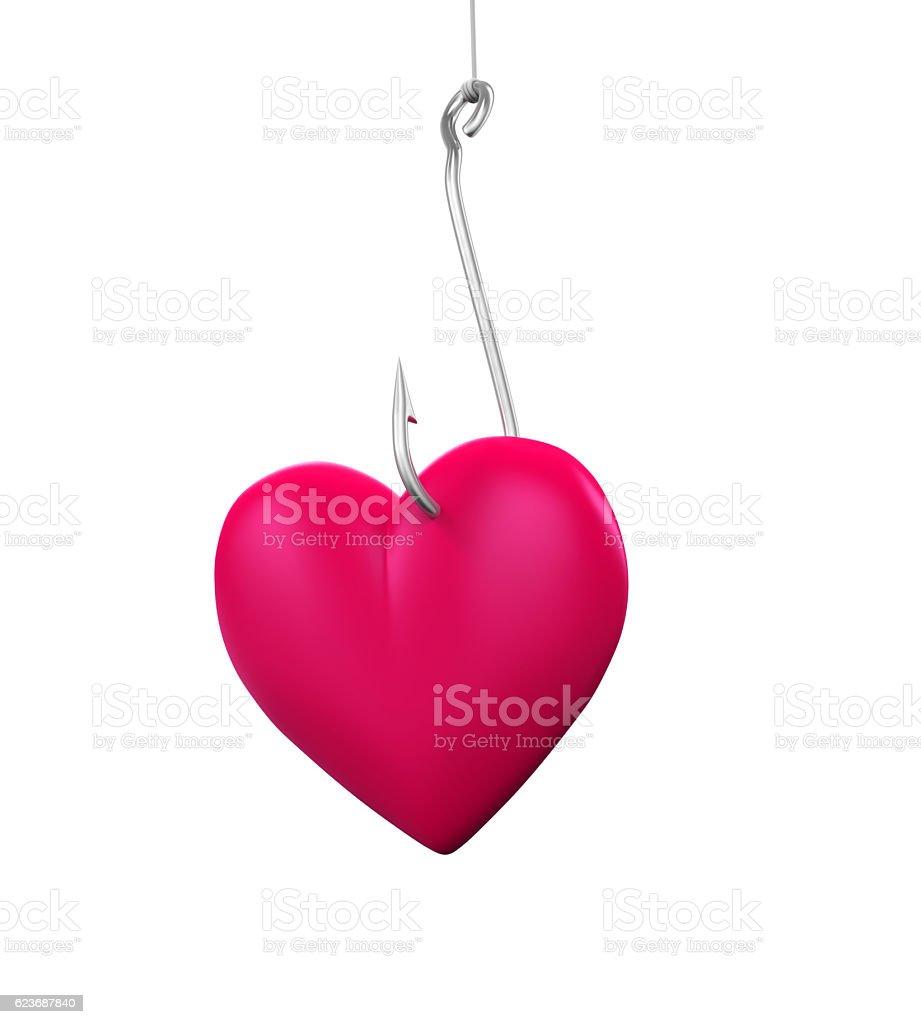 Heart Shaped on the Fishing Hook - foto de acervo