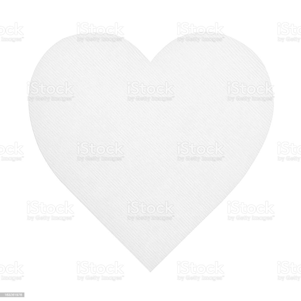 Heart shaped paper isolated on white royalty-free stock photo