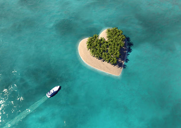 Heart Shaped Paradise Island Heart Shaped Paradise Island  south pacific ocean stock pictures, royalty-free photos & images