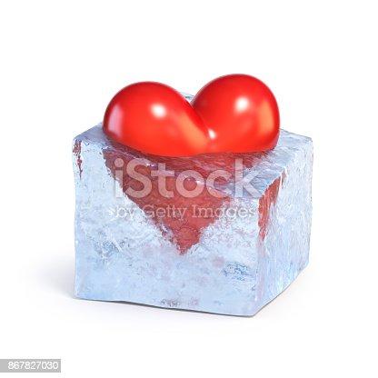 istock Heart shaped piece of ice, frozen heart 3d rendering 867827030