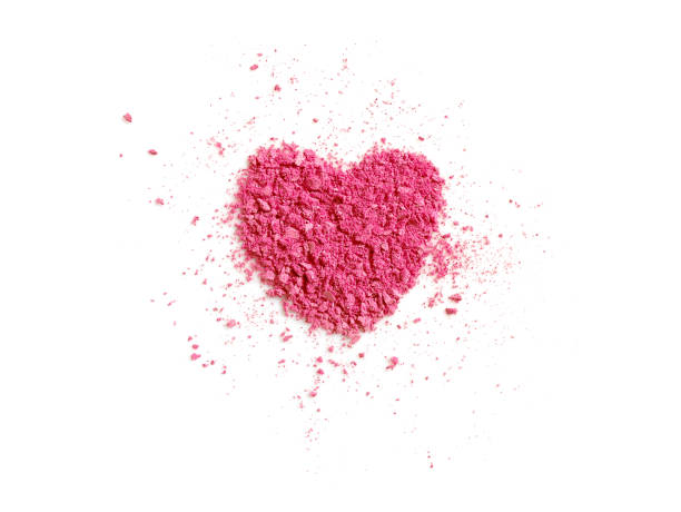 Heart shaped pink eye shadow Heart shaped pink eye shadow isolated on white background. Love and Valentine's day concept. blusher make up stock pictures, royalty-free photos & images