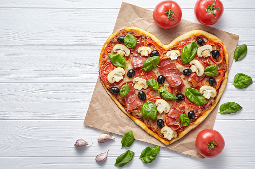 Heart Shaped Pizza Delicious Love Concept Valentines Day Design Romantic Restaurant Dinner Stock Photo - Download Image Now