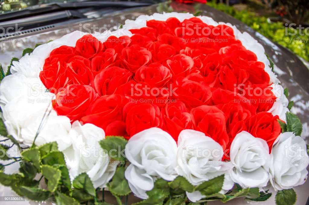 Heart Shaped Red And White Roses Wedding Flower Bouquet In Front Of ...