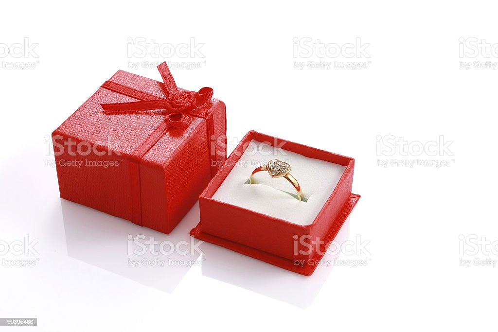 Heart shaped ring in red gift box isolated - Royalty-free Box - Container Stock Photo