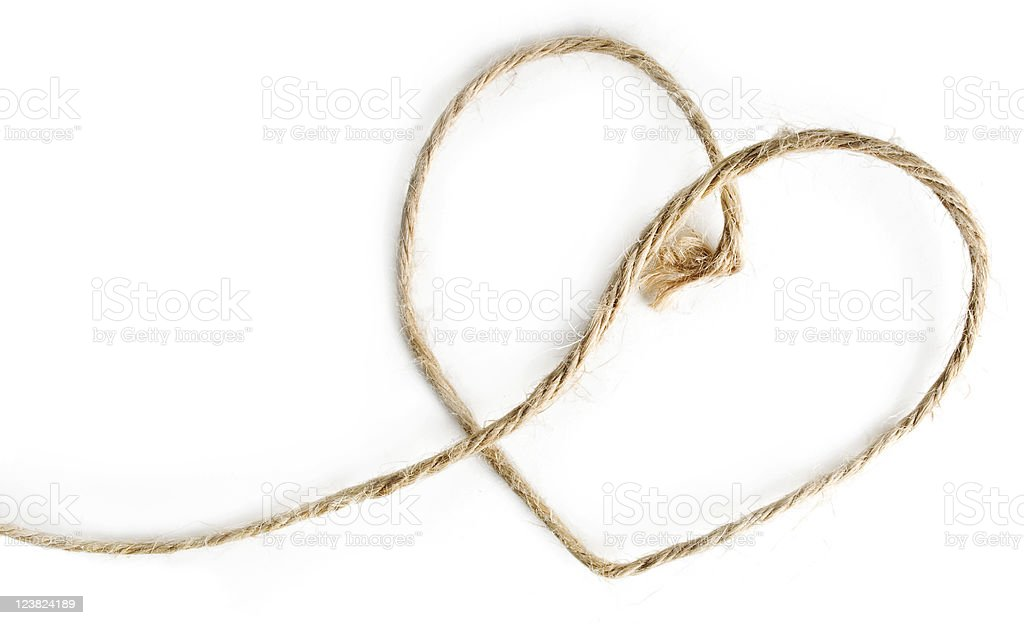 Heart shaped rope on white stock photo